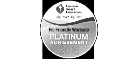 American Heart Association: Fit Friendly Worksite - Plastinum Achievement 2016